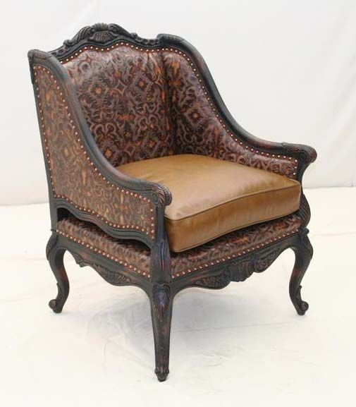 Old Hickory Tannery Embossed Whiskey Leather Chair Western Accent Chairs - Dark carved wood frames heavily & Old Hickory Tannery Embossed Whiskey Leather Chair Western Accent ...