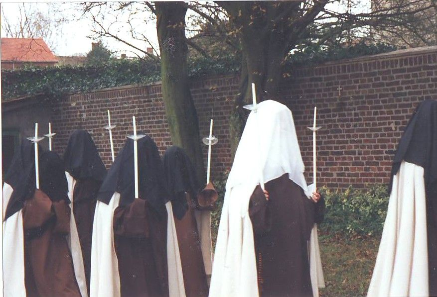 Discalced Carmelites wearing the