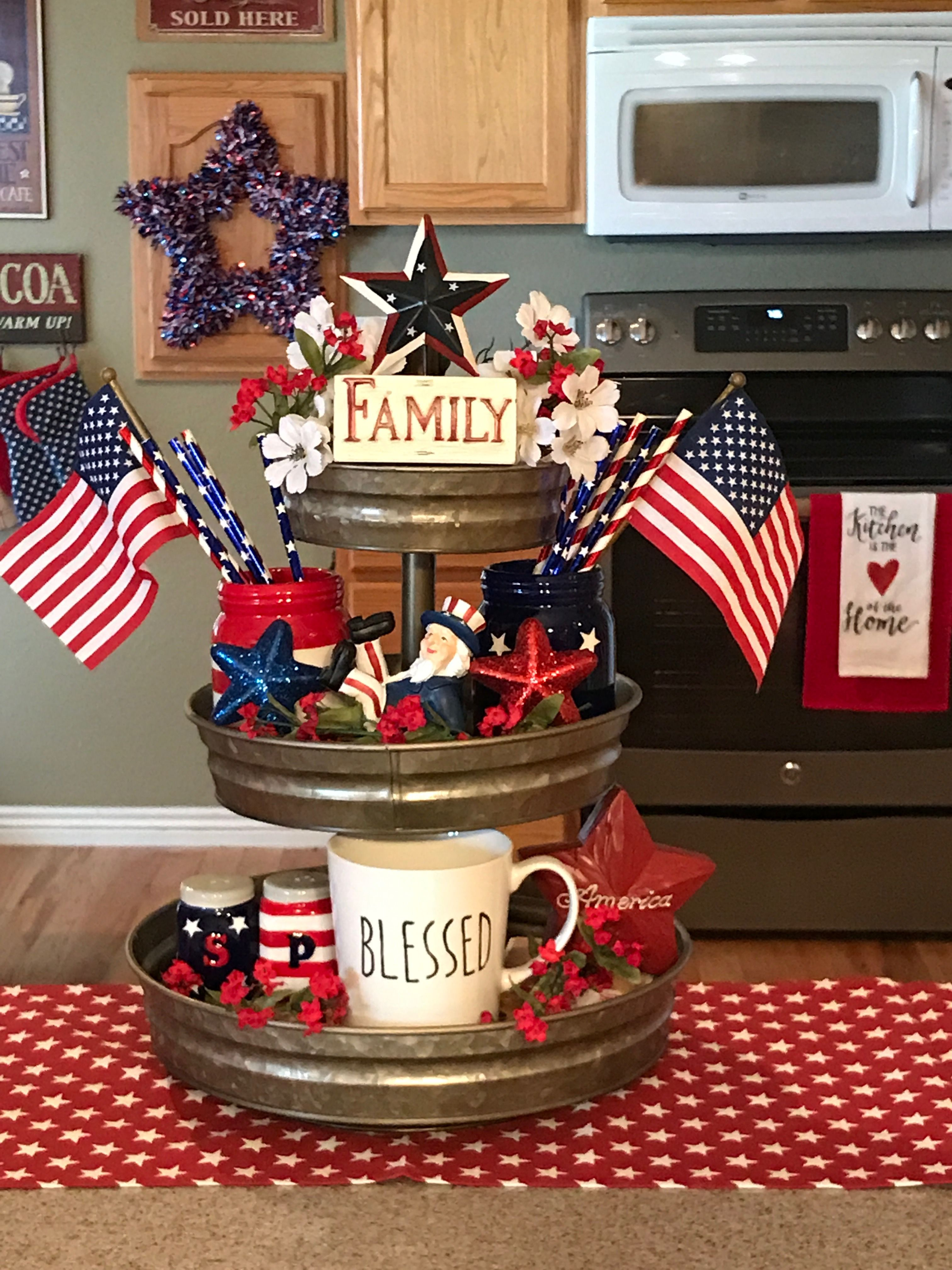 4th of July Decor 4th of July Tree 4th of July Ornaments Red White and Blue Decor 4th of July Tiered Tray Decor Mini Cupcake Decor