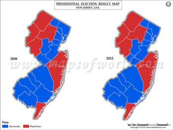 New Jersey Election Results Map 2008 Vs 2012 US Presidential