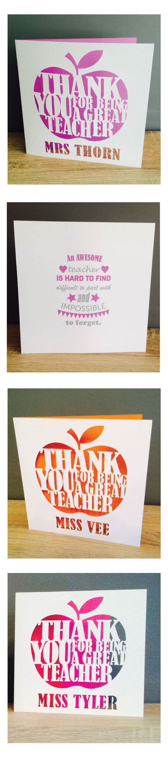 custom paper cutout thank you teacher card  paper cutout