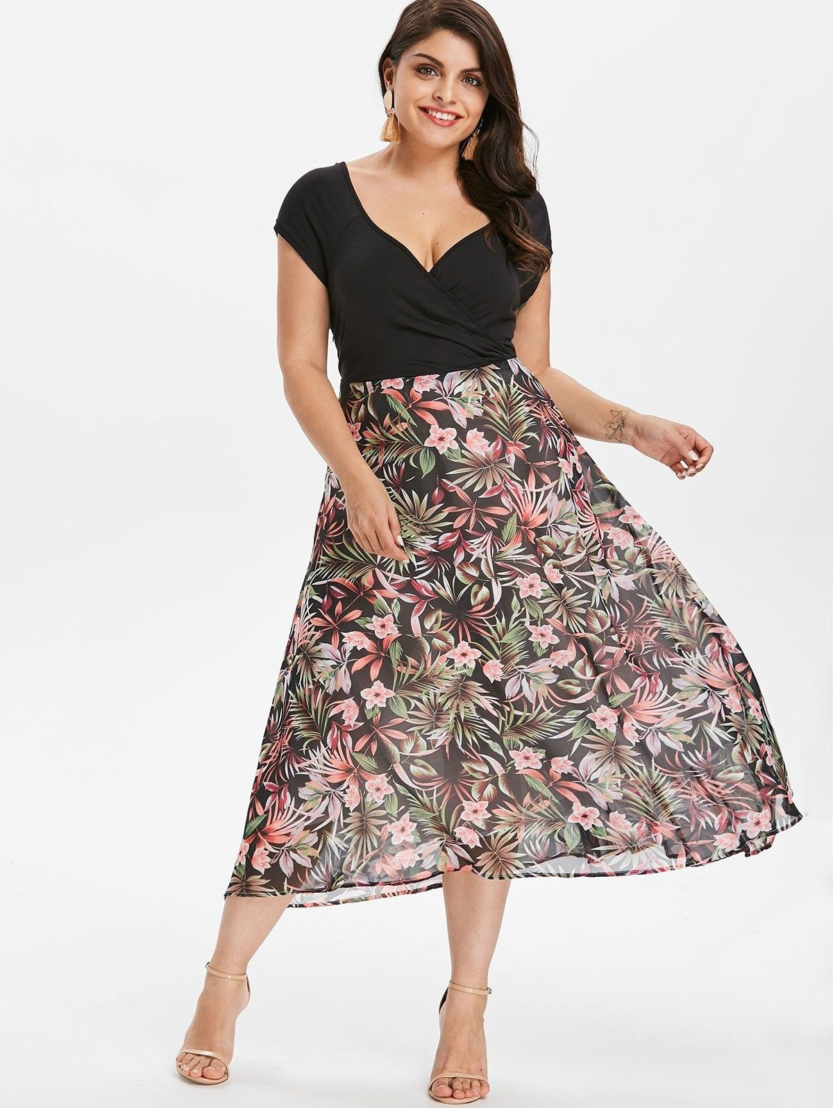 Plus Size Flower Print Hawaiian Dress | Bottom in 2019 ...