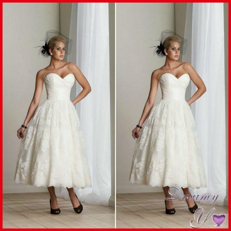 Custom-made Lace Applique Organza Tea Length Wedding Dresses for Pregnant Women $170.00