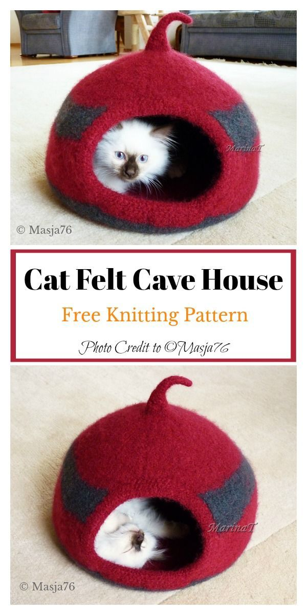 Cat Felt Cocoon Free Knitting Pattern freeknittingpattern