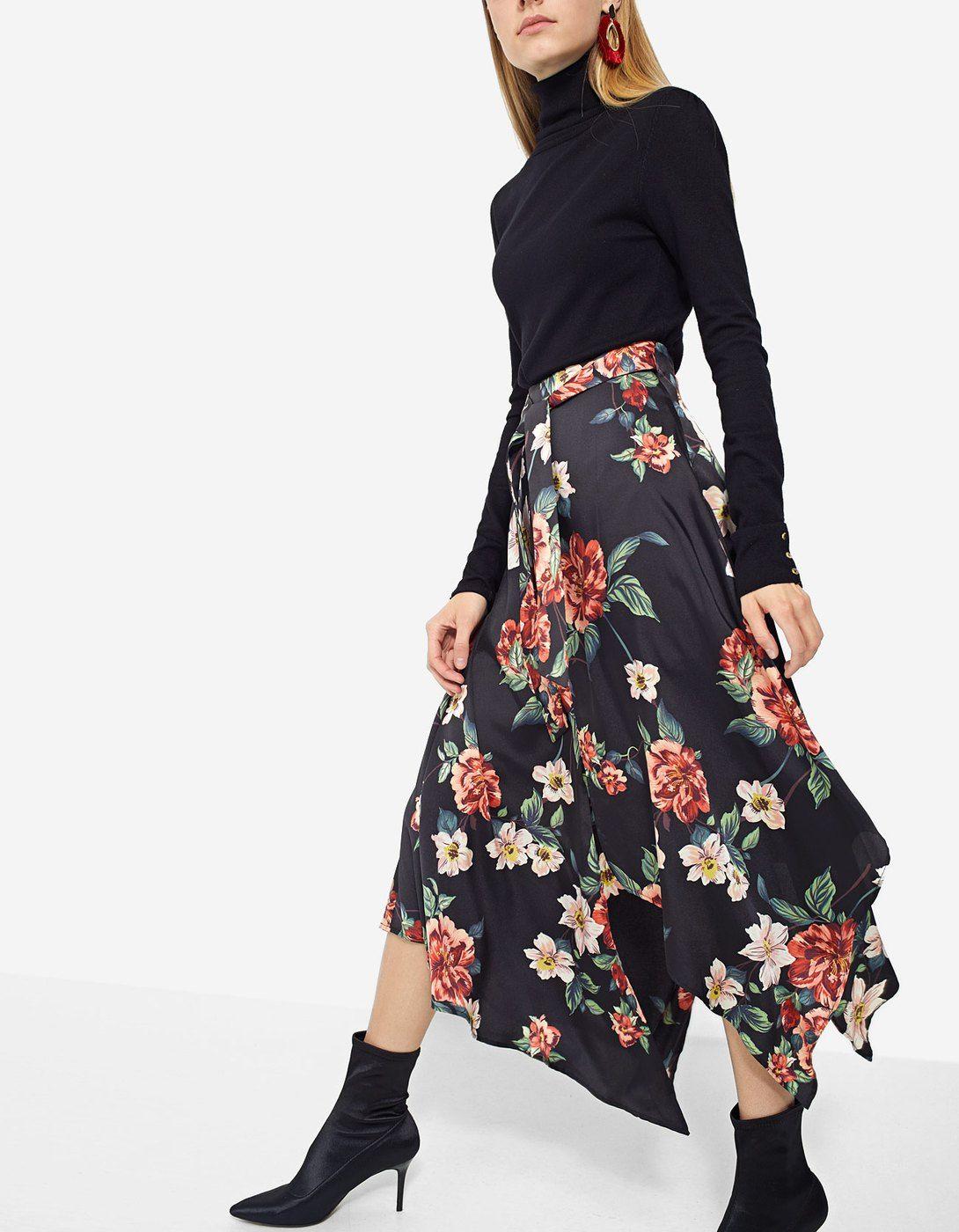 Floral Asymmetric Skirt Dresses Stradivarius Greek Floral Print Midi Skirt Asymmetrical Skirt Skirts
