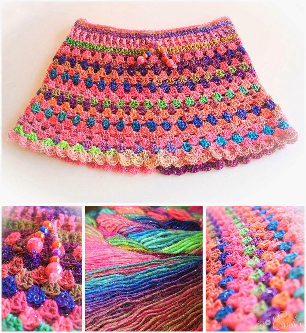 Handmade by Essebes: Crocheted Granny-stripe skirt | dresses and ...
