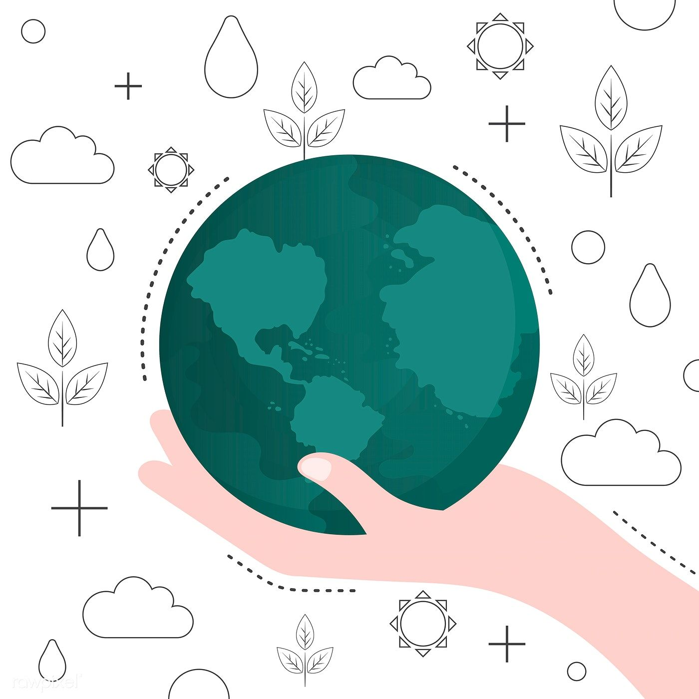 Save The World Environmental Conservation Vector Free Image By Rawpixel Com Sasi Vector Free Free Illustrations Stock Images Free