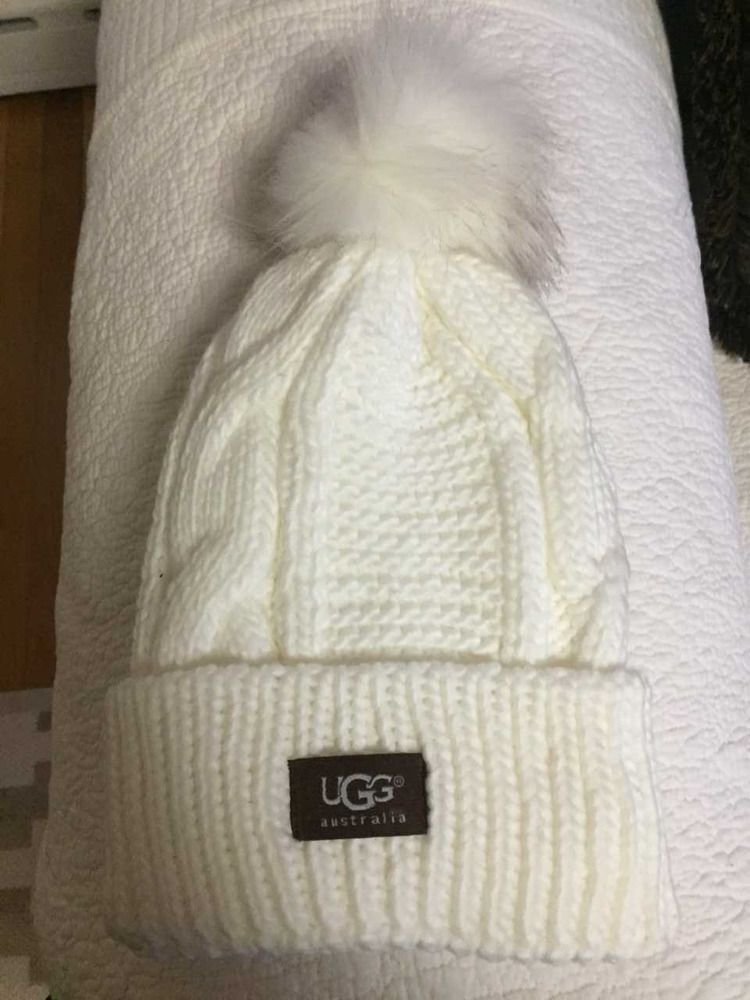 63e01120978 UGG Womens White Solid Ribbed Fleece Lined Winter Beanie Hat With Pom Pom   fashion  clothing  shoes  accessories  womensaccessories  hats (ebay link)