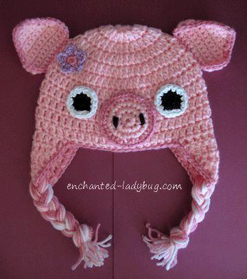 Free Crochet Pig Ear Flap Hat Pattern For Kids Earflap Hat Pattern