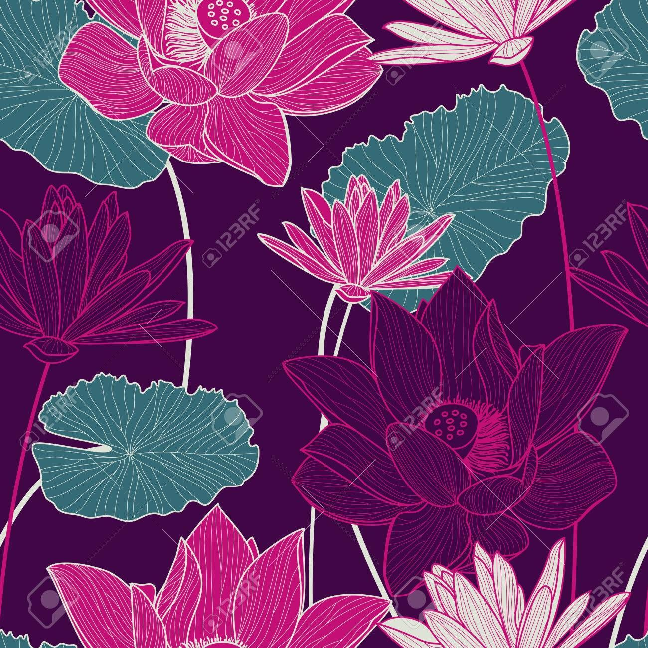 Vector seamless pattern with beautiful pink lotus flower