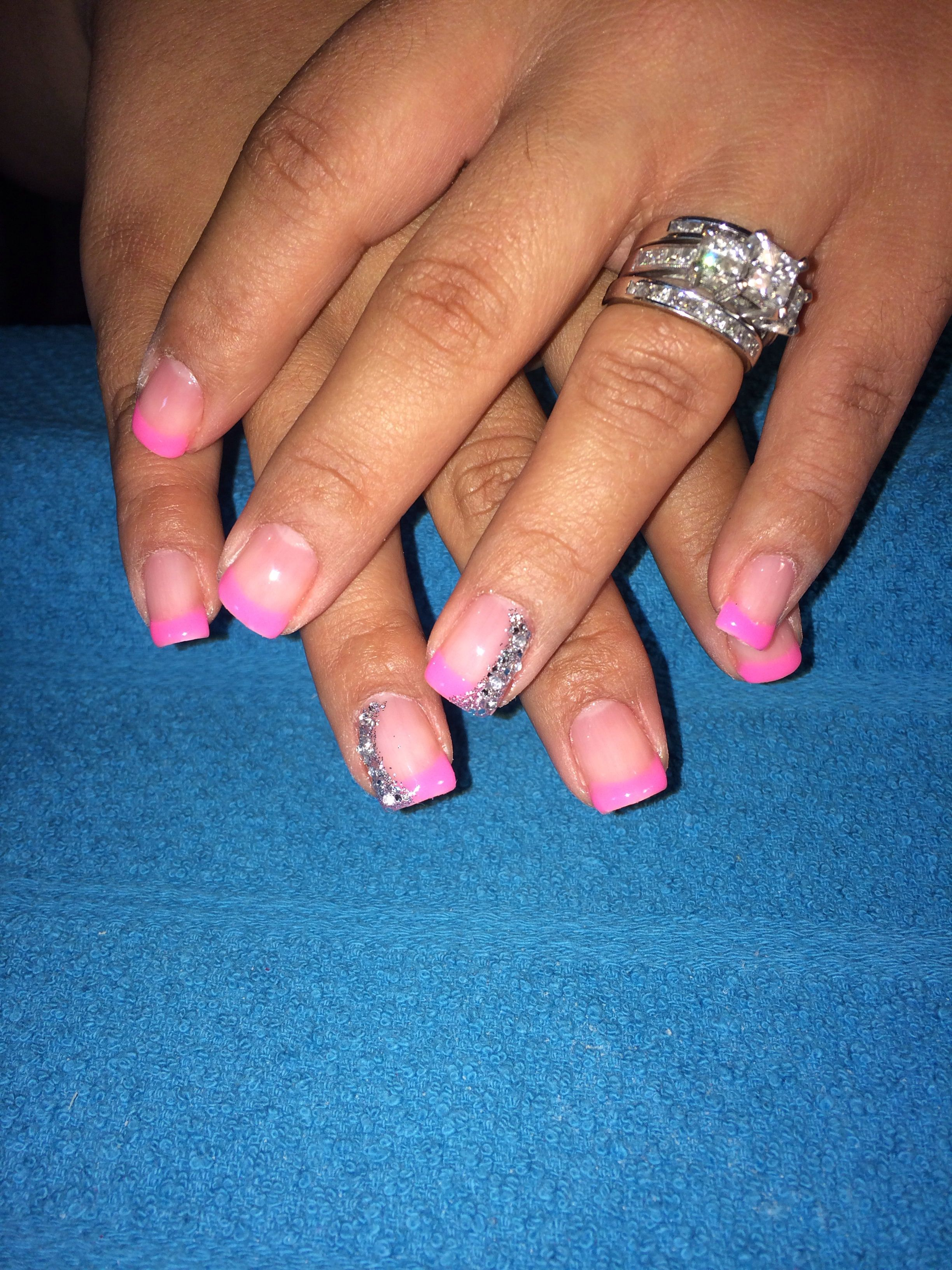 Pink French gel manicure with glitter design | nails Nails NAILS ...