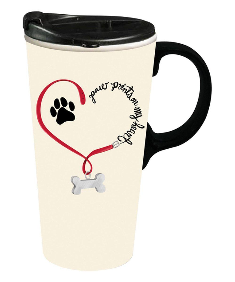 Look At This Paw Prints On My Heart Dog Ceramic 17 Oz Travel Mug On Zulily Today Ceramic Travel Coffee Mugs Mugs Coffee Travel
