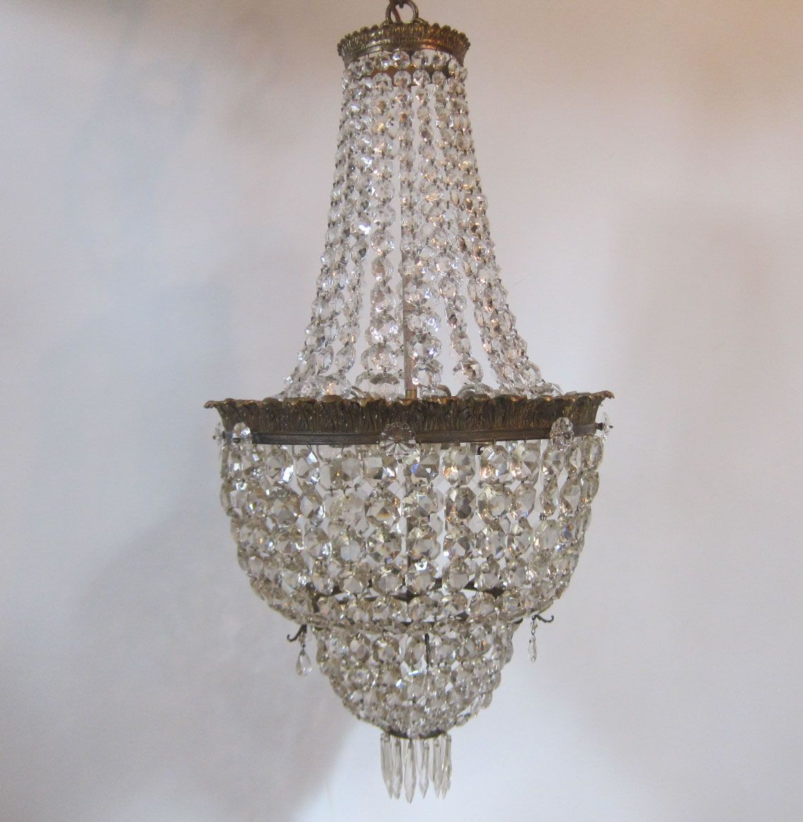 English cut glass chandelier in the waterfall and double basket english cut glass chandelier in the waterfall and double basket style on gilt fittings mozeypictures Choice Image