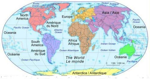 Monde Carte Du Monde Les Cinq Continents Europe Amerique Du Nord
