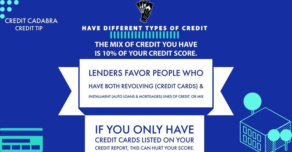 Have Different Types Of Credit Improve Credit Score Credit Repair Improve Credit