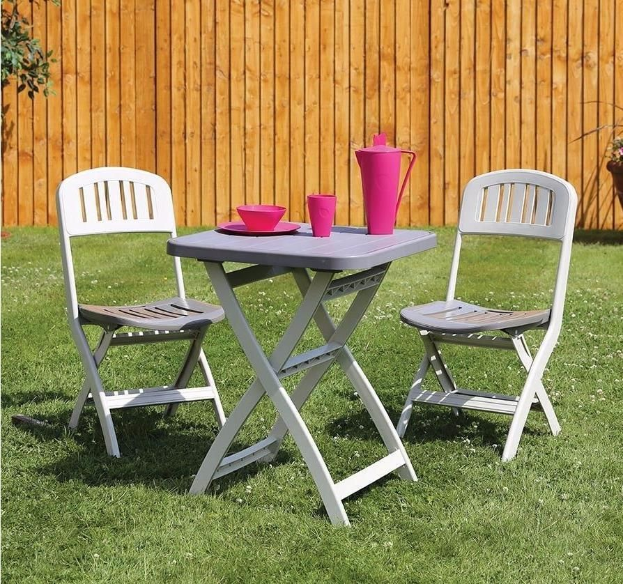 Garden Bistro Set Outdoor Seater Furniture Folding Plastic Table And Chairs Tea