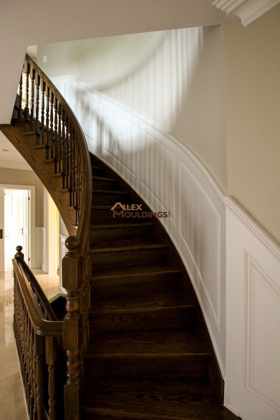 Curvy stairway raised panel type stairs pinterest wainscoting