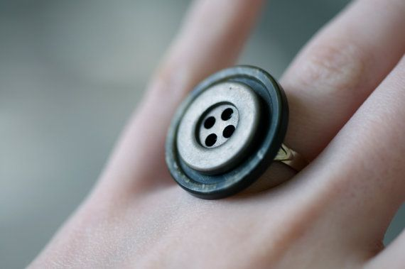 FREE SHIPPING on adjustable #button ring $6.00 onCaffeinatedandcrafty.etsy.com