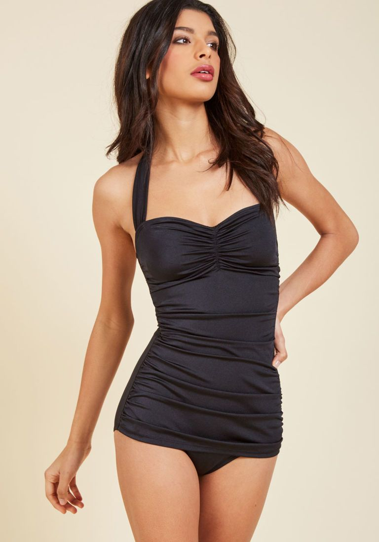 f85615ba0b68b Bathing Beauty One-Piece Swimsuit in Black - 16-34 in 20 - Skirted by  Esther Williams from ModCloth - Plus Sizes Available