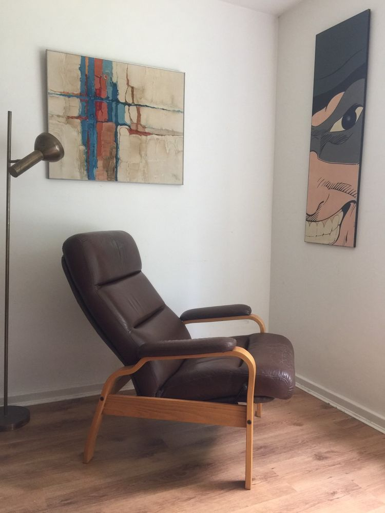 Vintage Mid Century Scandinavian Leather Recliner Arm Chair And Footstool Ebay Chair Leather Recliner Footstool