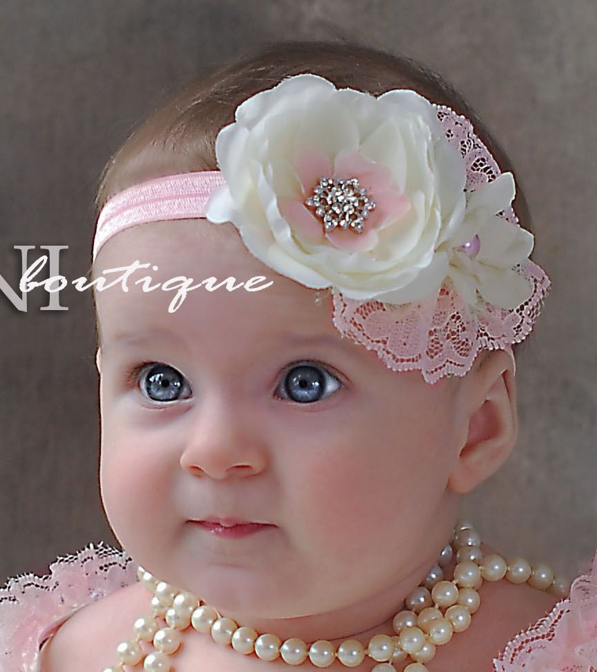 Pink and ivory baby headband shabby chic roses by SAVANIboutique