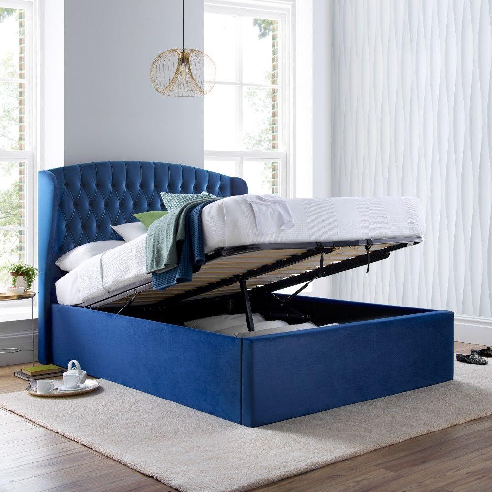 Warwick Blue Velvet Fabric Ottoman Bed Frame 4ft6 Double