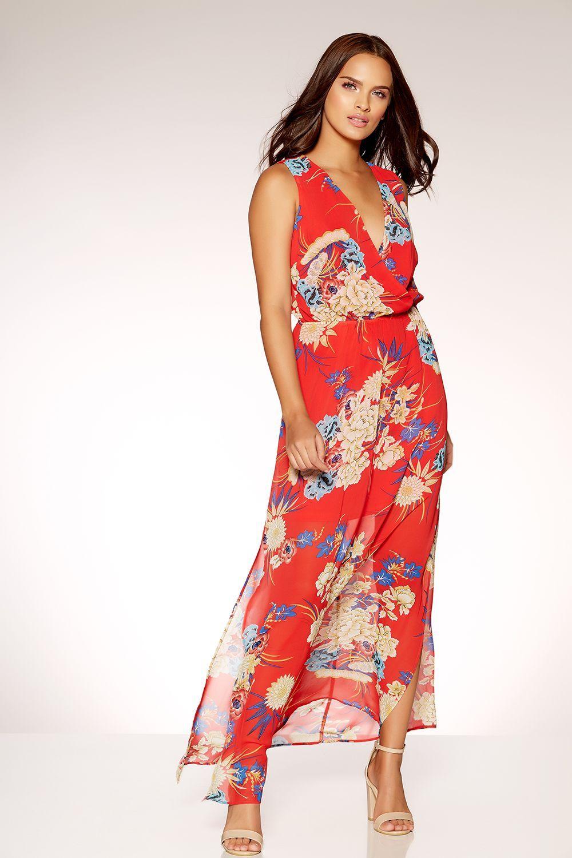 Red chiffon oriental print maxi dress oriental print