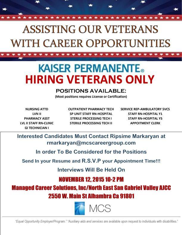 Kaiser Permanente Hiring Veterans Http Www Military Civilian