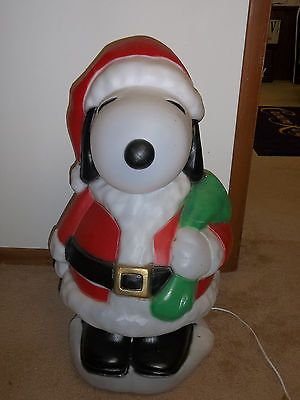 31 peanuts snoopy santa best xmas blowmold light plastic outdoor decor holiday