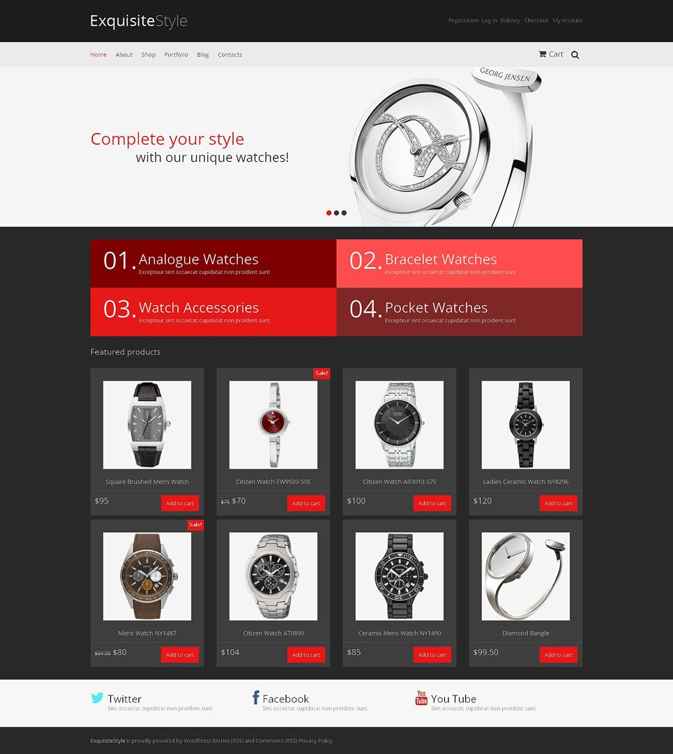 Watches Responsive Jigoshop Theme | Professional website and Website ...