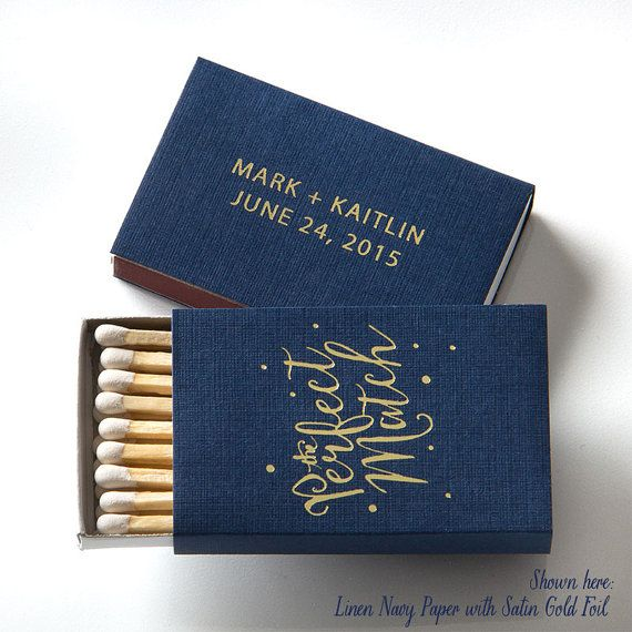 The Perfect Match With Polka Dots Personalized Bo 25 Wedding Favors Custom Matches Foil Stamped Box