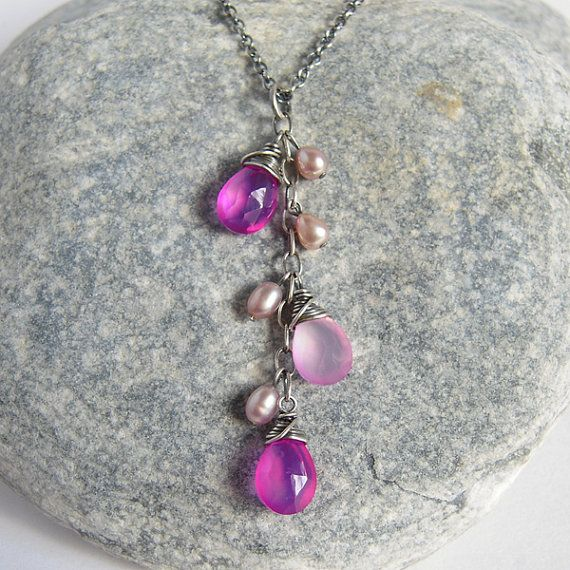 Pink Chalcedony Lavender Pearl Cluster Necklace, Oxidized Sterling Silver Rustic Jewelry
