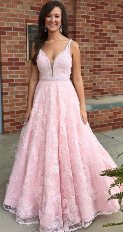 Hot Sale Applique Pink Evening Prom Dresses Luscious Long V-Neck ...