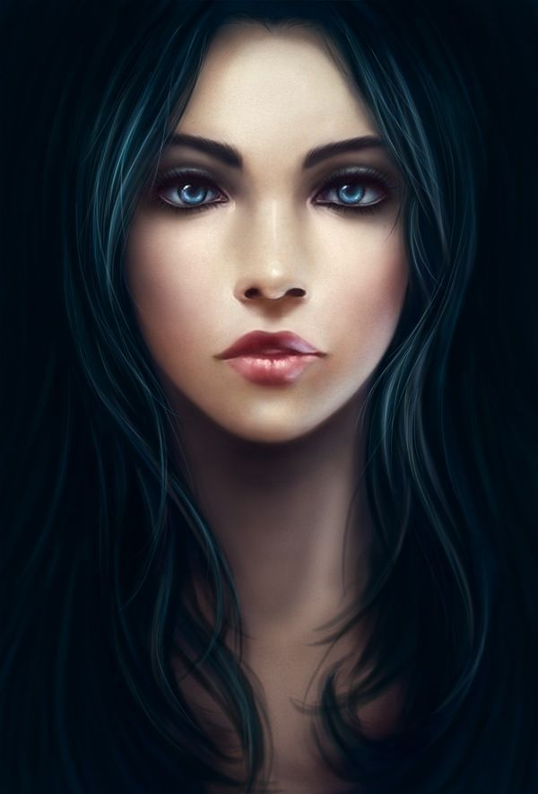 The Girl S Face Looked Angelic Jet Black Hair With Eyes So Dark Blue They Looked Like Twilight Digital Art Girl Art Girl Character Art