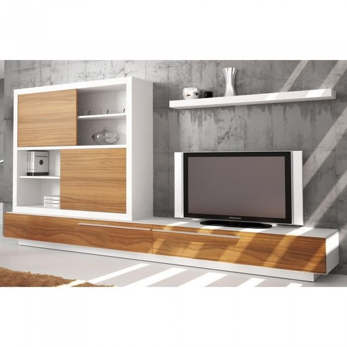 Meuble tv mural long 700 700 id es de deco for Meuble mural audio video