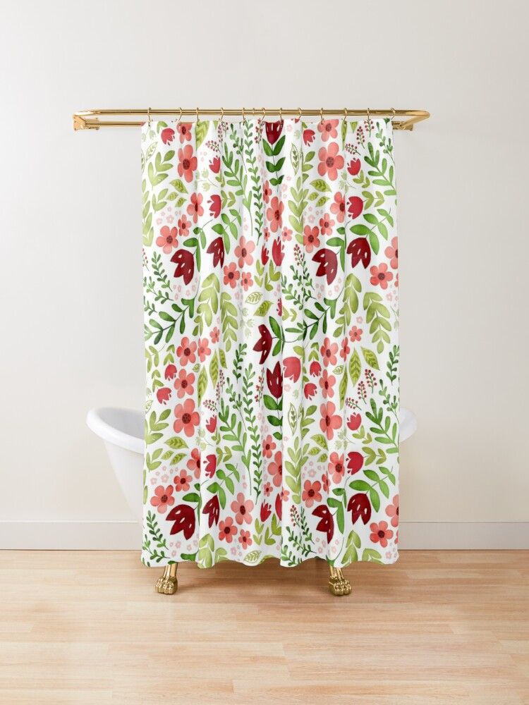 Red And Peach Watercolour Floral Shower Curtain By Adenaj