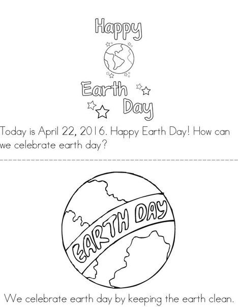 Today Is April Book Beginning Readers That You Print For Kids Find This Pin And More On Earth Day Coloring Pages