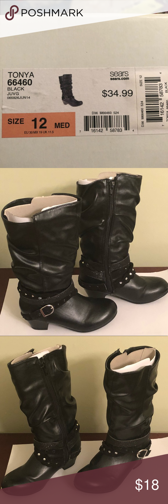 Toddler Girls Bongo Boots Black Size 12 Boots Black Boots Heeled Boots