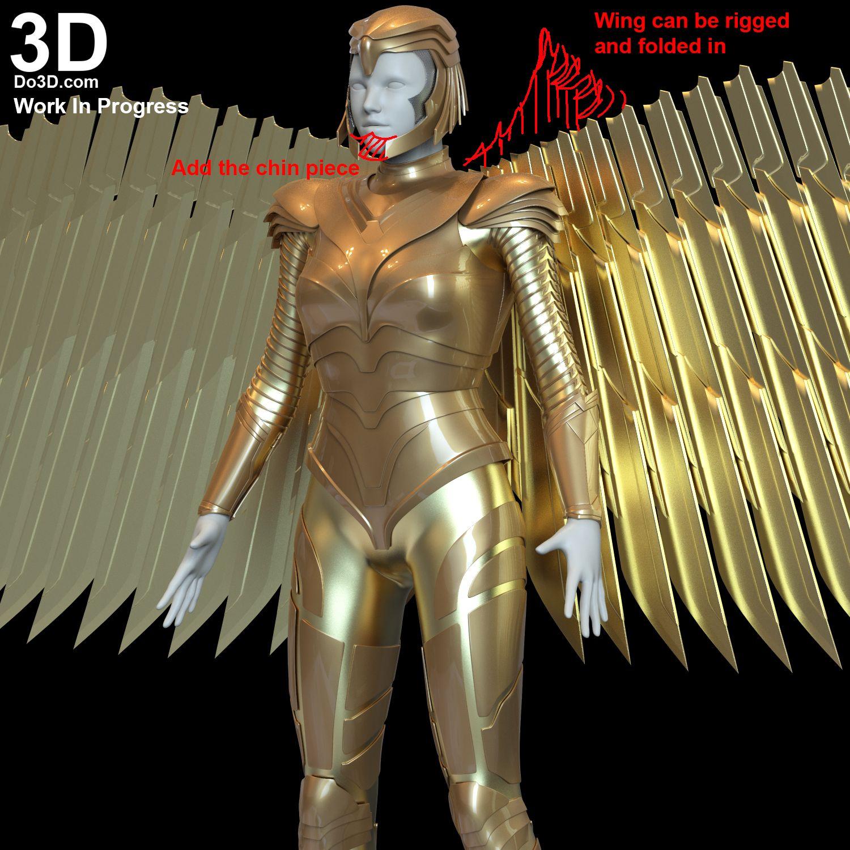 3d Printable Model Wonder Woman 1984 Diana S Golden Armor Print File Format Stl Do3d Com In 2020 3d Printable Models Wonder Woman Model