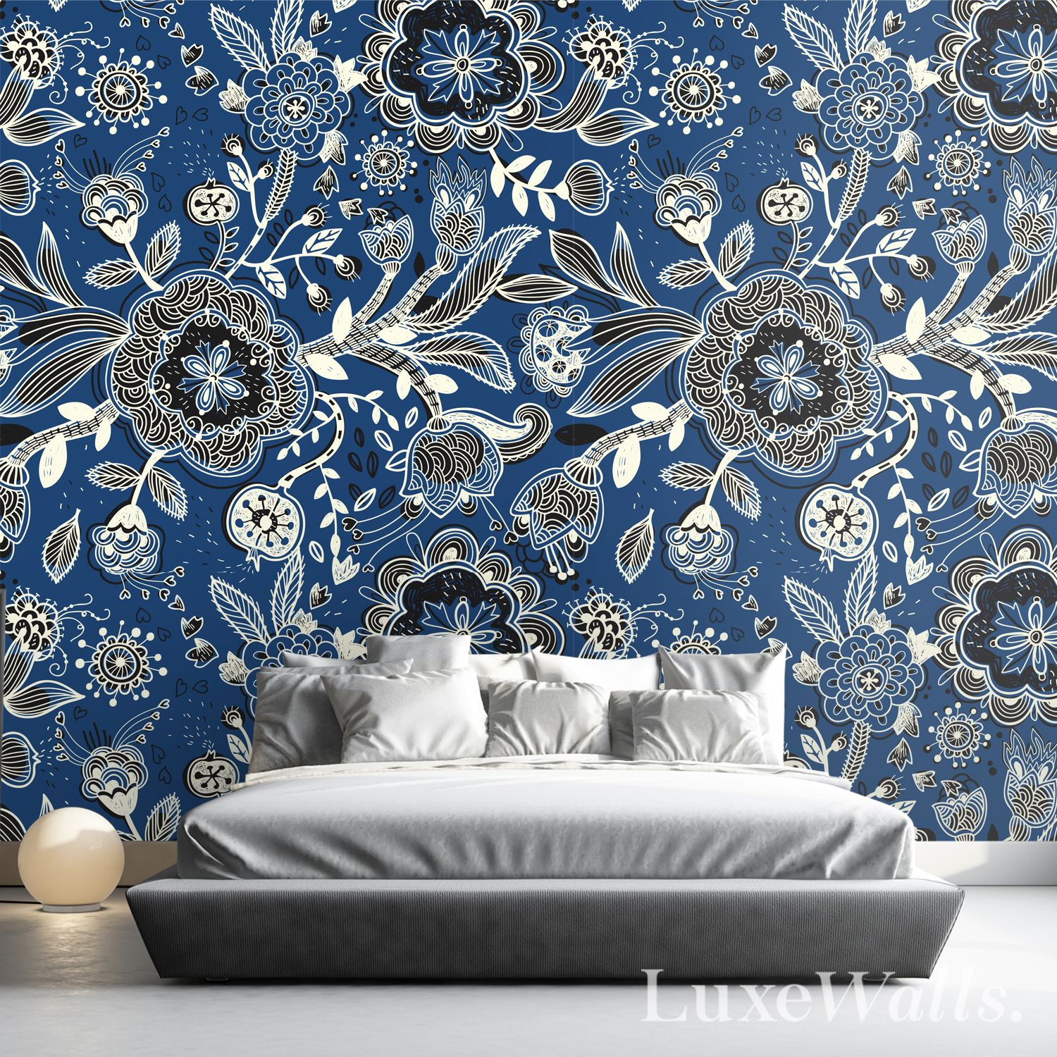 Midnight Blue Blue Wallpapers Blue Floral Wallpaper Stylish Wall Decor