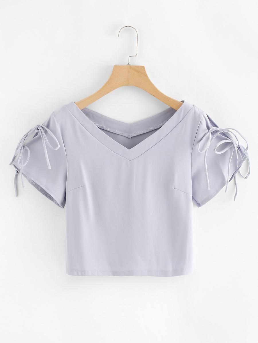 0ea7ed9999 Lace Up Sleeve Crop Tee -SheIn(Sheinside)