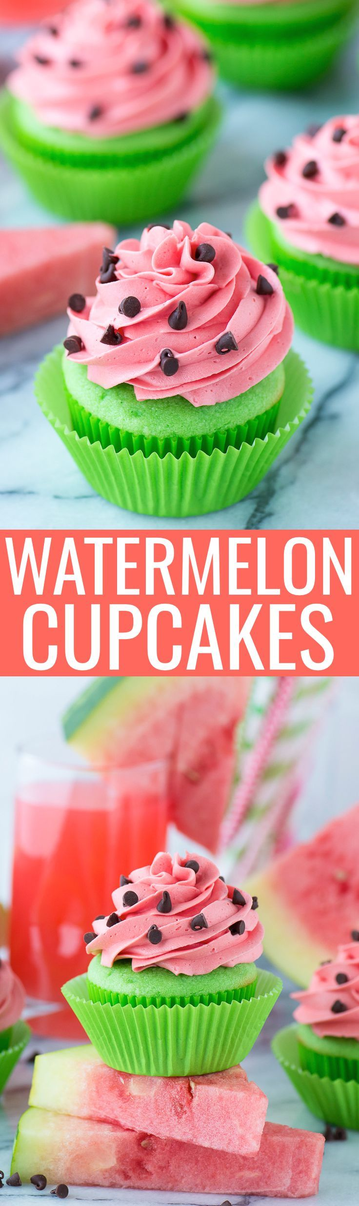 Watermelon Cupcakes Bright green cupcakes with buttercream that