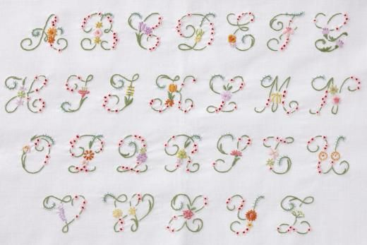 Embroidery Letters With Flowers Dmc Flower Letter Alphabet