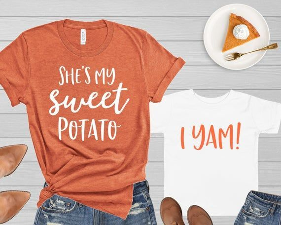 Mommy and Me Thanksgiving Shirts He's She's My Sweet Potato I Yam Funny Tshirt Mother Daughter Son M
