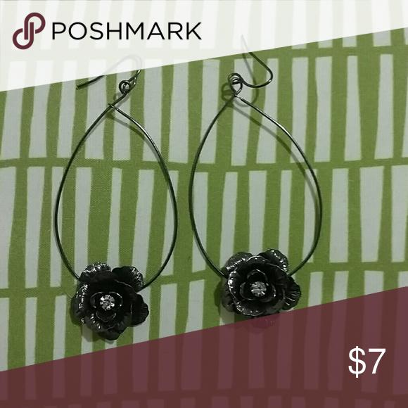 Black rose earrings Black rose earrings hoops white rhinestone center Jewelry Earrings