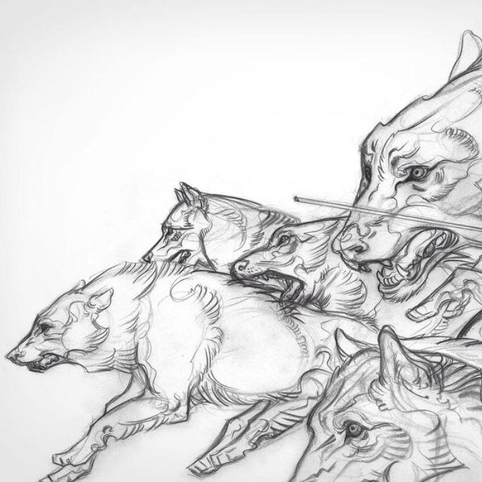 Стая волков рисунки