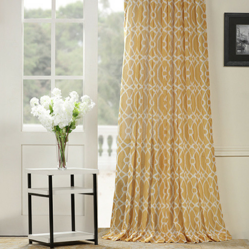 Get Summer Ready With Our Tava Yellow Printed Sheer Curtains Their Unique Design And Rich Color Creates A Beau Curtain Designs Yellow Curtains Sheer Curtains