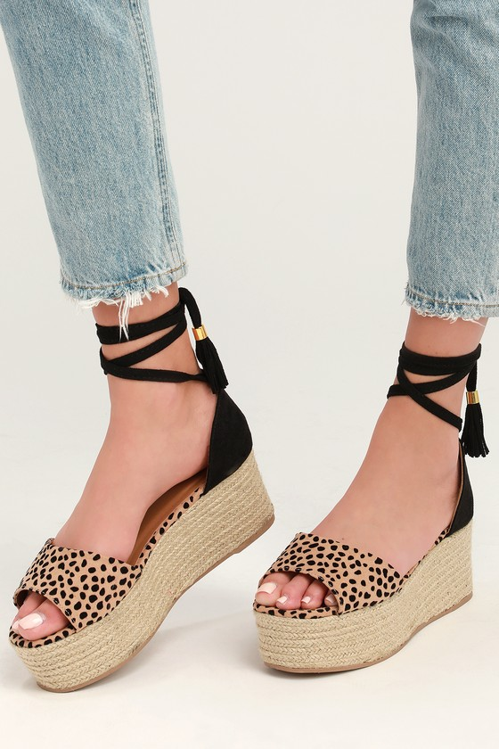 5d1a4aa8824 Lulus | Vera Tan and Black Suede Leopard Print Espadrille Wedges ...