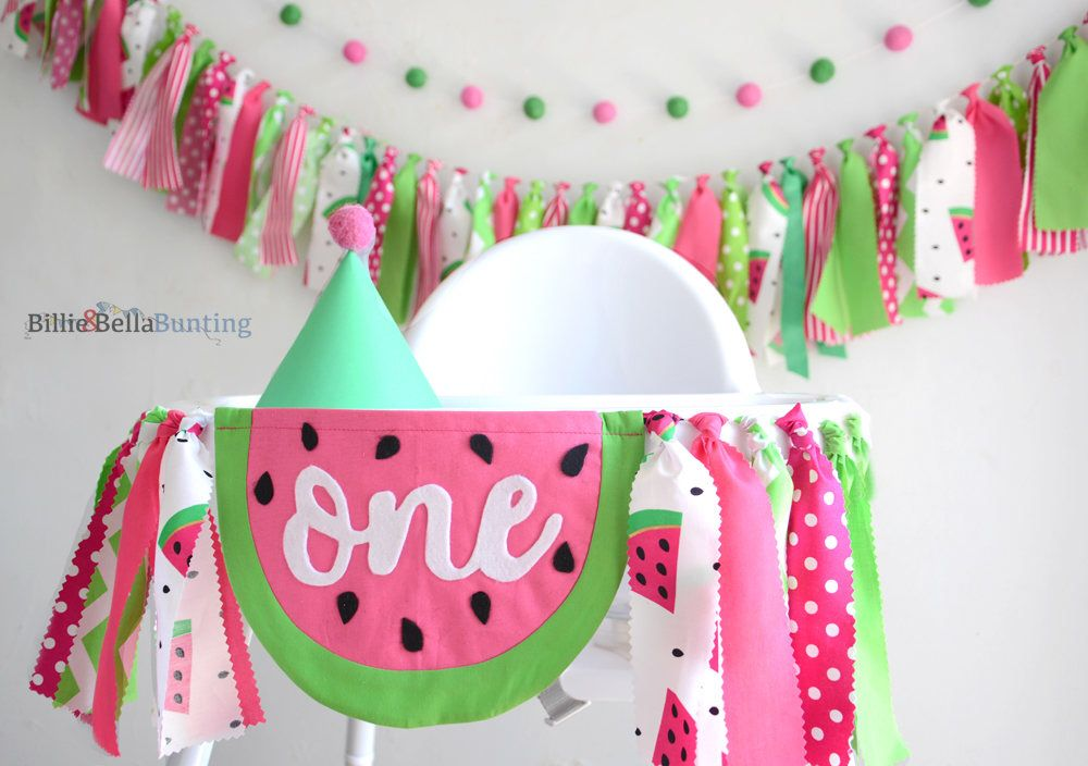 One In A Melon birthday, Watermelon high chair banner