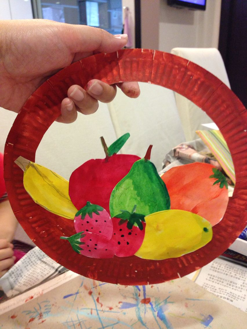 art lesson fruits basket art paperplate recycle painting craft